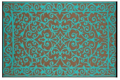 Alfombra PET Gala turquesa con dorado 150 x 240 cm