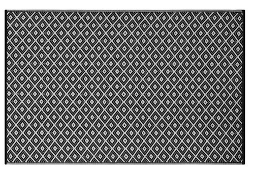 Alfombra PET Arabian negro con blanco 90 x 150 cm