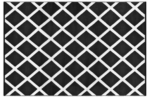 Alfombra PET diamante blanco con negro 120 x 180 cm