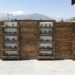 Muro de madera con huerto vertical