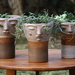 Macetero de cerámica de gres con cara L