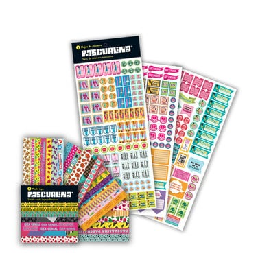 Pack Stickers Pascualina Ejecutiva + Washi Tapes - 13 hojas $7.990