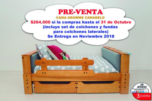 PRE-VENTA (entrega en noviembre) Cama GrowMe Caramelo (incluye colchones y par de fundas para colchones laterales)