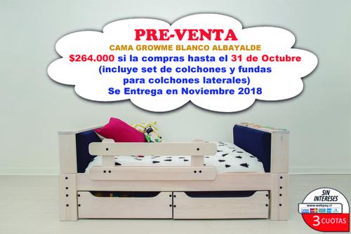 PRE-VENTA (entrega en noviembre) Cama GrowMe Blanco Albayalde (incluye colchones y par de fundas para colchones laterales)