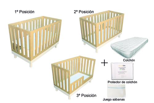 Cuna + Colchón + Protector de colchón + juego sábanas  (sólo venta con despacho)