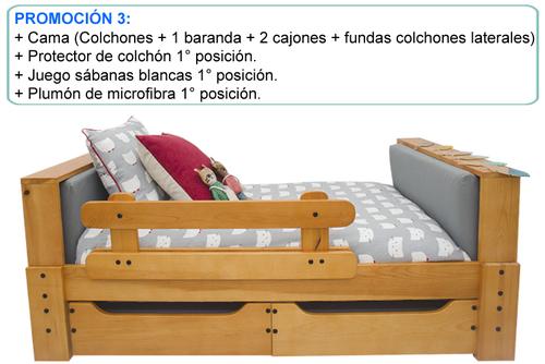 CAMA CARAMELO + PROTECTOR COLCHÓN 1° POS. + SÁBANAS BLANCAS 1° POS. + PLUMÓN MICROFIBRA BLANCO 1° POS.