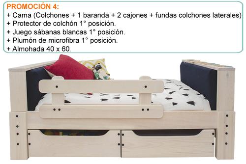 CAMA BLANCO ALBAYALDE + PROTECTOR COLCHÓN 1° POS. + SÁBANAS BLANCAS 1° POS. + PLUMÓN MICROFIBRA BLANCO 1° POS. + Almohada 40 x 60