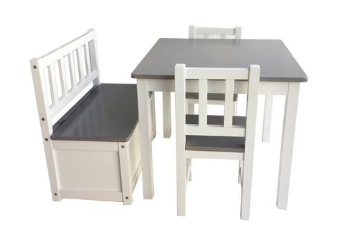 Juego mesa, 2 sillas y banca-baúl - Gris