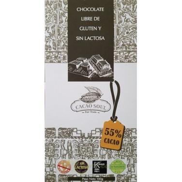 Chocolate 55% cacao Sin gluten organico-100 grs- CACAO SOUL