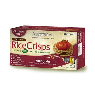 Rice Crisps, Galleta de Arroz Integral Sin Gluten, Sabor Multigrano- 100 grs