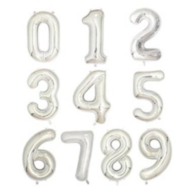 Globos de Numeros Silver -  100 cm
