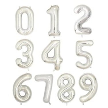 Globos de Numeros Silver -  40 cm