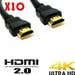 Pack 10 Cables Hdmi 4k 2.0 Full Hd
