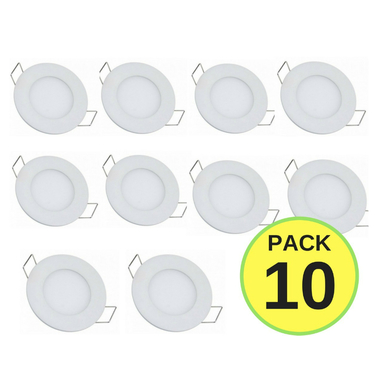 Pack 10 Focos Led Panel Placa 6w Aluminio 12cm Embutido Fria