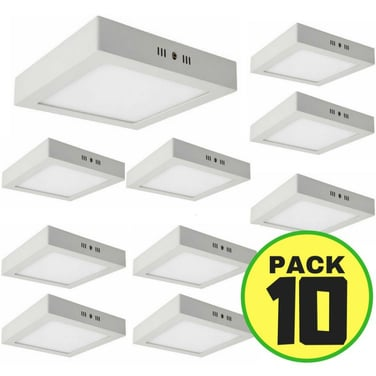10 Foco Led Panel Plafon Sobrepuesto Cuadrado 6w Fria