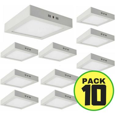 10 Foco Led Panel Plafon Sobrepuesto Cuadrado 12w Fria