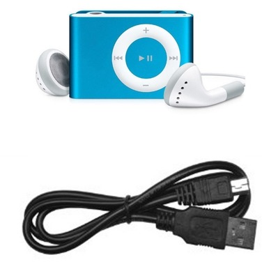 Reproductor Mp3 Clip Tipo Shuffle + Audifonos + Cable