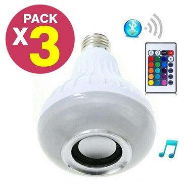 Pack 3 Ampolleta Bluetooth Parlante Luz Led Altavoz Musica