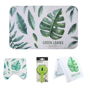 Set Baño Diseño 4 Piezas hojas verdes Bathlux