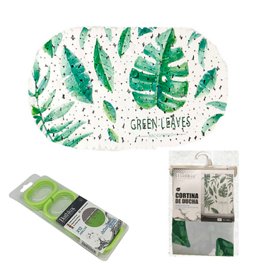 Set Baño Diseño 3 Piezas hojas verdes  Bathlux