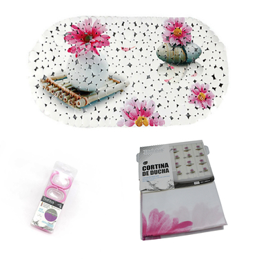 Set Baño Diseño 3 Piezas hojas flor y piedra Bathlux
