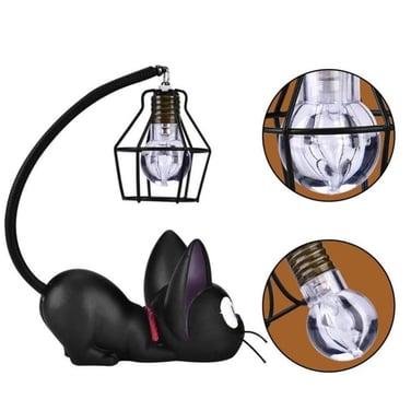 Lindo Gato Negro Luz Noche Resina Artesanía Lámpara