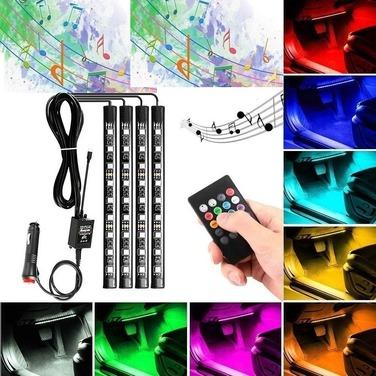 Kit 4 Luces Led Interior Auto 12v Multicolor Sensor Sonido