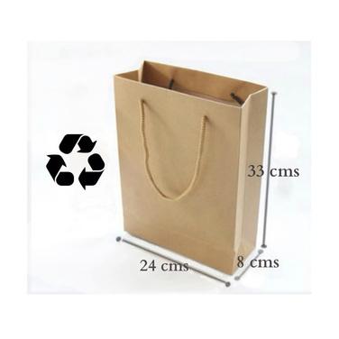 12 Bolsas Papel Kraft Reciclado Regalos 24x33x8cms