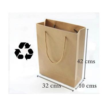 12 Bolsas Papel Kraft Reciclado Regalos 32x42x10cms