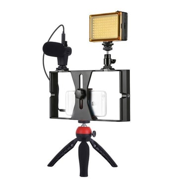 Rig Soporte Vlogging Streaming Video Microfono + Luz