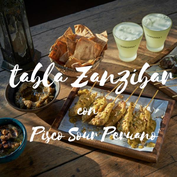 Tabla Zanzibar con Pisco Sour Peruano