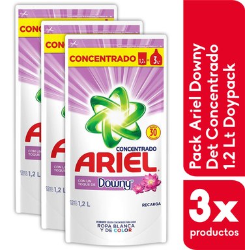 Pack 3 x Ariel Liquido Concentrado Downy 1.2 Lts Doypack