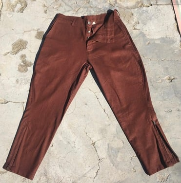 pantalon lino chocolate S