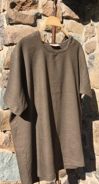 camiseta manga corta con capucha lino  gris M