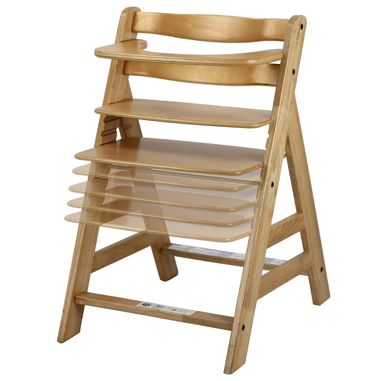 Silla de madera para comer alfa color natural maxicrece for Silla madera ninos