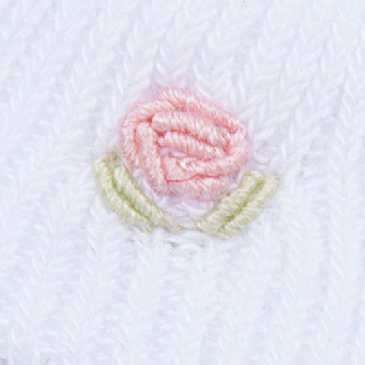Calcetín blanco niña bordado a Mano Lucky Baby