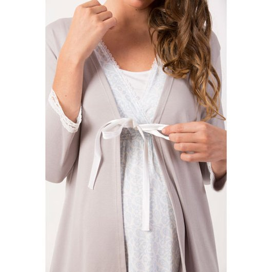 Bata Maternal de algodón (Gris) Nala Maternity