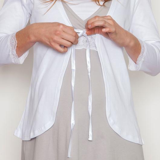 Mañanita Maternal de algodón (Blanco) Nala Maternity