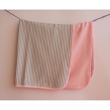 Manta reversible (rayado gris - rosado) Martín Pescador