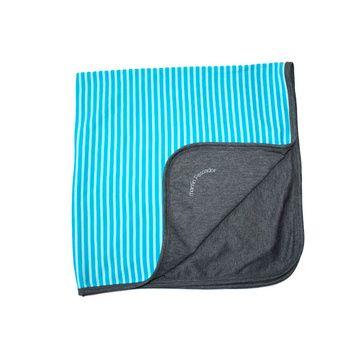 Manta reversible (rayado azul - gris) Martín Pescador