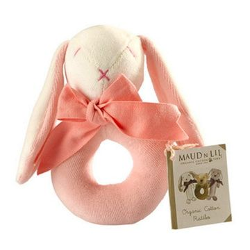 Sonajero Aro algodón orgánico (Conejito Rosado) Maud N Lil