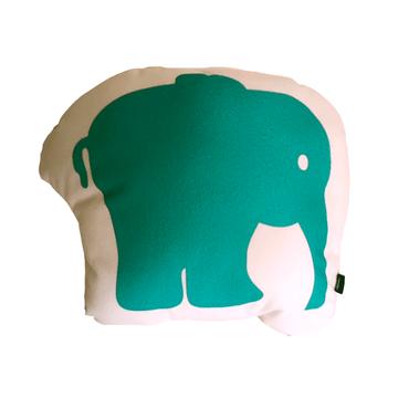 Cojín Animal Elefante Verde Flipa Kids por Carmen Orrego