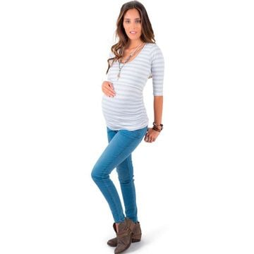 Jeans maternal pitillo Celeste Madremía