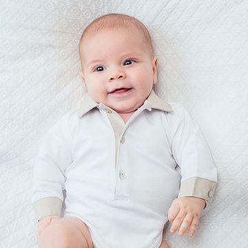 Body Cuello Beige Niño bordado a mano Lucky Baby