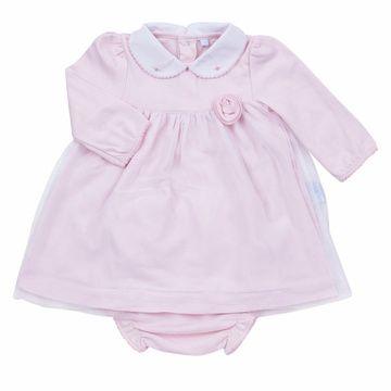 Vestido y Calzón rosado tul bordado a mano Lucky Baby