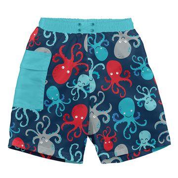 Traje de Baño con Pañal Short (Azul Navy Pulpo) Iplay