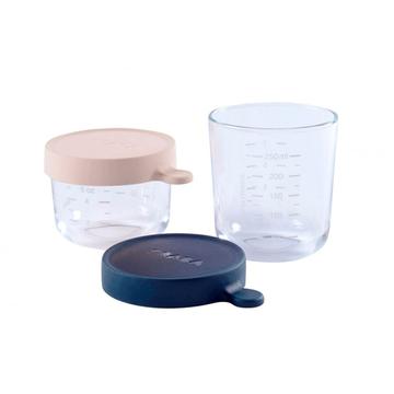 Envases Cristal Conservación Comida (Gris Rosa) Béaba