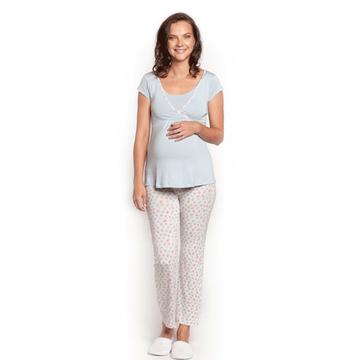 Pijama Maternal (Estampado Flores Celeste Rojas) MC Nala Maternity