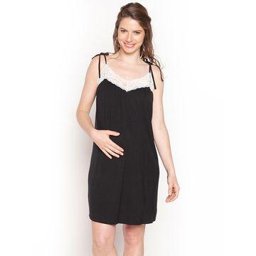 Camisa Dormir Maternal Cinta (Negro) Nala Maternity