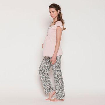 Pijama Maternal Polera Cruzada (Gris Flores Crema) MC Nala Maternity